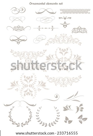 Set of decorative ornamental elements, isolated on white - stock vector