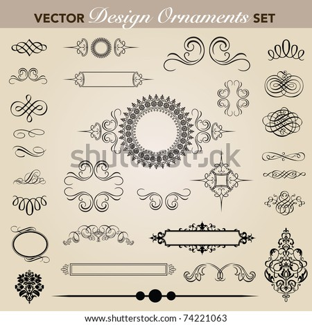 Set of decorative ornaments. Easy to edit. Perfect for invitations or announcements. - stock vector
