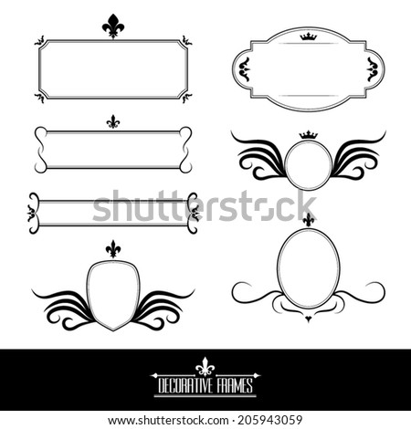 Set of decorative ornate frames and borders - stock vector