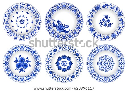 Set of decorative porcelain plates ornate with traditional blue floral pattern in Russian style Gzhel with  sc 1 st  Shutterstock & Set Decorative Porcelain Plates Ornate Traditional Stock Vector HD ...