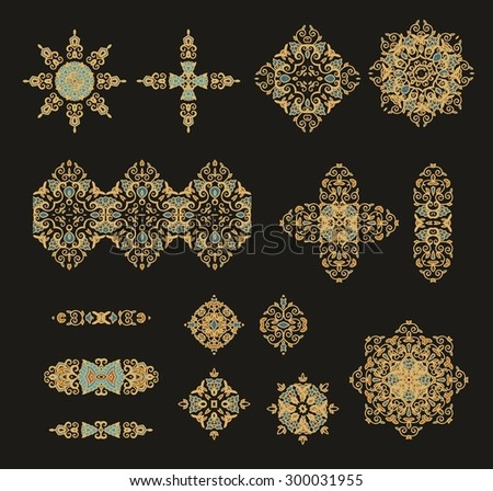 Set of decorative rosettes-snowflakes - stock vector
