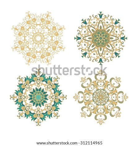 Set of decorative rosettes- snowflakes - stock vector