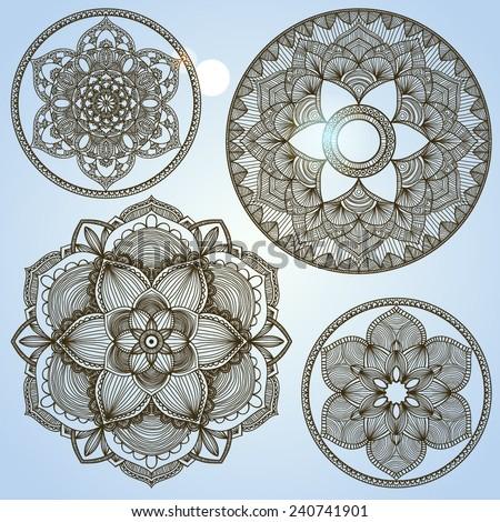 set of decorative round symmetric design element, mandala ornament - stock vector