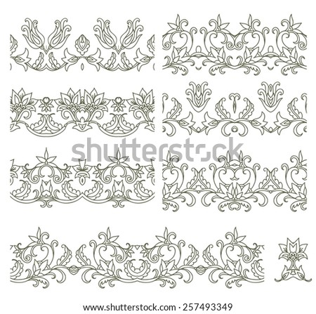 Set of decorative seamless ornamental ribbons - stock vector