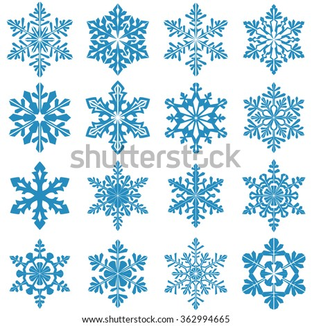 Set of decorative snowflake silhouettes. Snowflake icon. New year decorations - stock vector