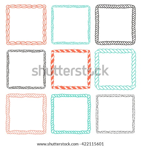 Set of 9 decorative square border frames. Square frames wreaths for use as a decorative element, for logo, emblem. Square ornamental borders. These pattern brush you can find in my portfolio - stock vector
