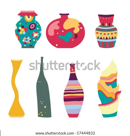 Set of decorative vases with various shapes. - stock vector
