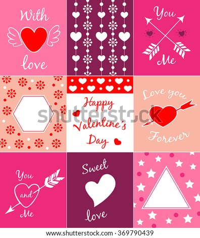Set of decorative vector cards for Valentine's day
