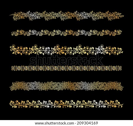 Set of decorative vector floral border elements in white on a black background with intricate scrolling calligraphic vines  flowers and leaves with five different patterns in differing widths - stock vector