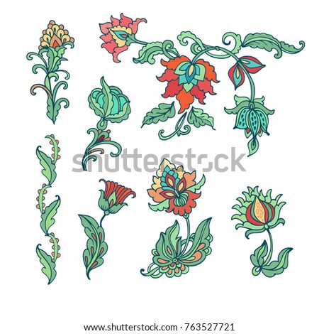 Set of decorative vector flowers on white background