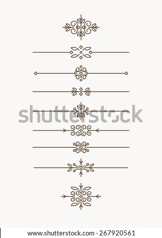 Set of 7 decorative vector mono line style text dividers with pair of bonus decorative elements. - stock vector