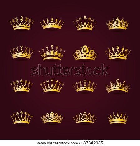 Set of decorative victorian gold crowns for design. In vintage style. Vector illustration EPS10. - stock vector