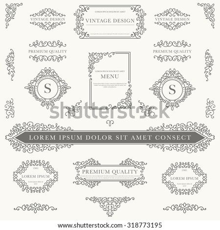 Set of decorative vintage design elements for label, logo, emblem design. - stock vector