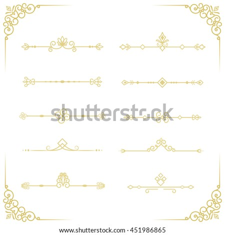 Set of decorative vintage vector elements. Golden dividers for your design. - stock vector