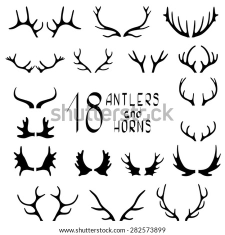 Set of 18 deer antlers and horns isolated on white. Set of different antlers large, branched and acute
