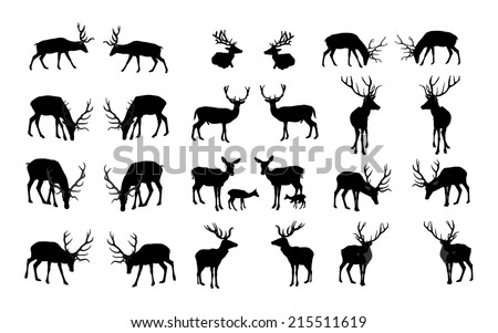 Set of deers vector silhouette illustration, isolated on white background. Group of 26 deers vector. - stock vector