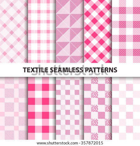 Set of delicate cloth patterns. 10 textile seamless patterns. - stock vector