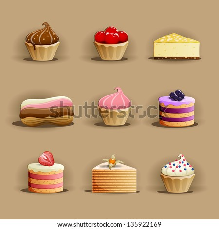 Set of delicious cakes - stock vector