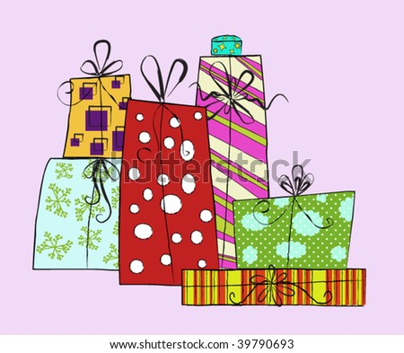 Set of Delicious Christmas Gifts Begging to be Unwrapped - stock vector