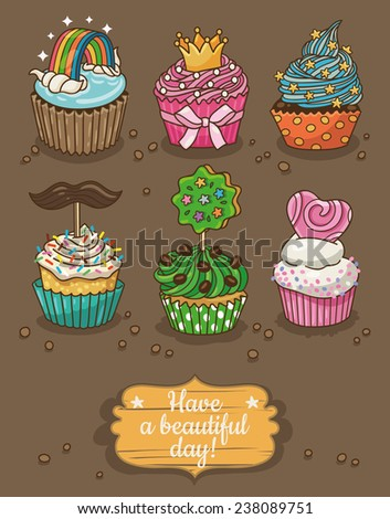 Set of delicious cupcakes with different toppings - stock vector