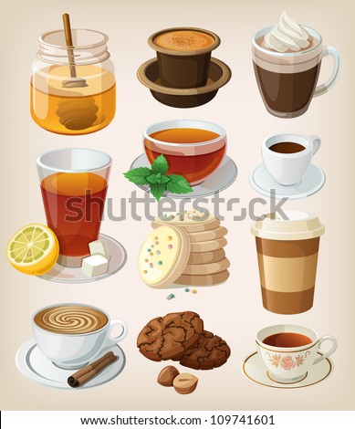 Set of delicious hot drinks: coffee, tea and supplies. Isolated. - stock vector