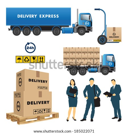 Set of delivery and shipment service. Vector illustration - stock vector
