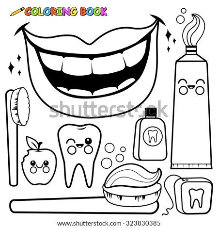 Set of dental hygiene objects - stock vector