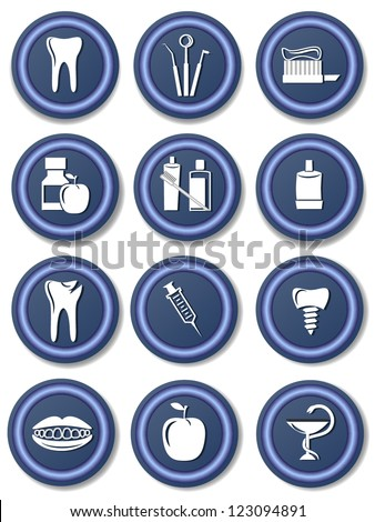 set of dental icon - stock vector