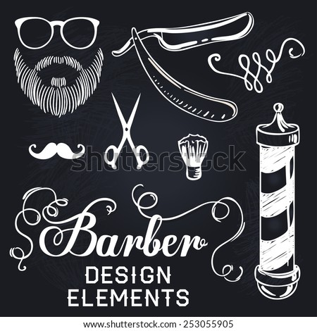 Set of design concepts for logo, badge, label, on Barbershop hipster hairdresser elements on a blackboard. - stock vector