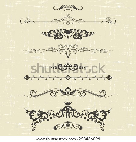 set of design elements and ornamental vintage  decoration. vector illustration - stock vector