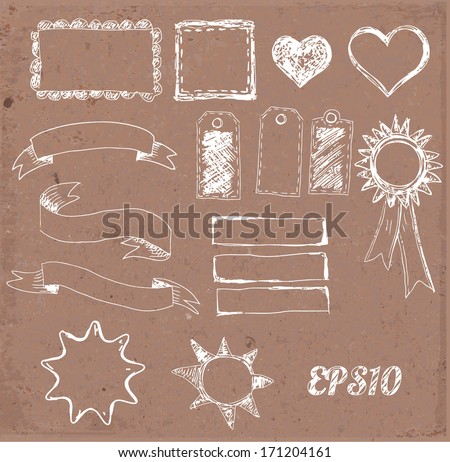 Set of design elements: borders, banners, stars etc. on brown paper. Vector illustration.  - stock vector