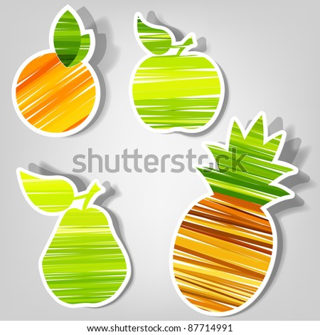 set of design elements for advertising fresh fruit - stock vector