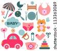 Set of design elements for babies - stock vector