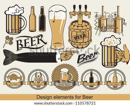 set of design elements for beer - stock vector