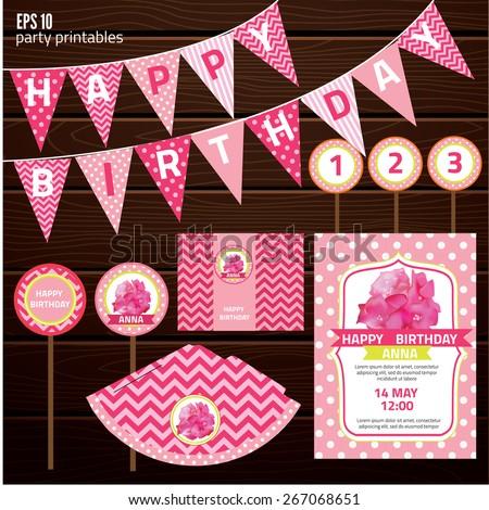 Set of design elements for birthday party, kid invitation card design. vector illustration - stock vector