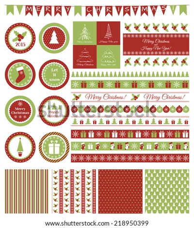 Set of design elements for Christmas party - stock vector