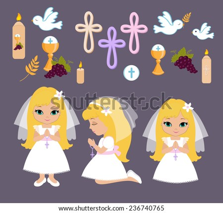 Set of design elements for First Communion for girls - stock vector