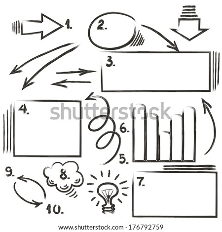Set of design elements for infographic drawn hand - stock vector
