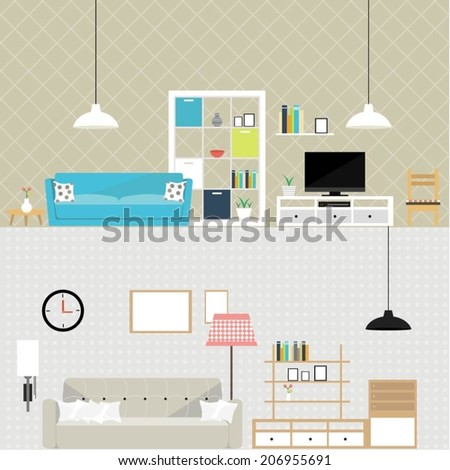 Set of design elements for interiors including couch, lamps, shelf, different types of wallpaper etc. Flat elements for interior decoration. - stock vector