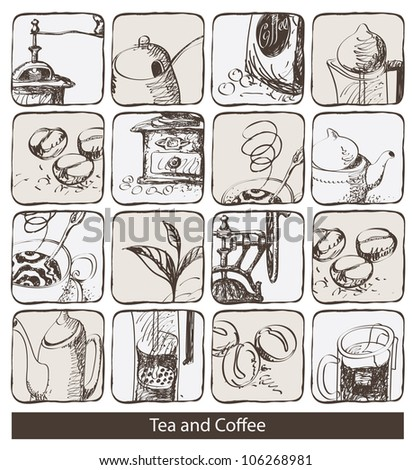 set of design elements for tea and coffee