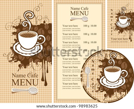 set of design elements for the cafe - stock vector