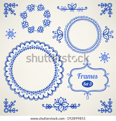 Set of design elements (frames, corners, vignettes) It can be used for wedding invitation, birthday cards, valentine greetings, e.t.c. - stock vector
