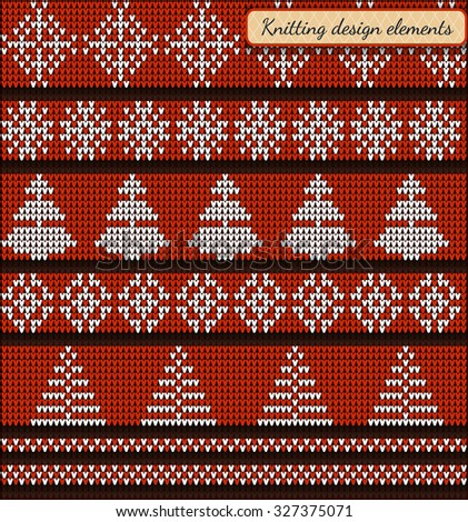 Set of design elements of Christmas star and snowflake, Christmas trees, Fair Pattern sweater design on the wool knitted texture. Knitting Ornament