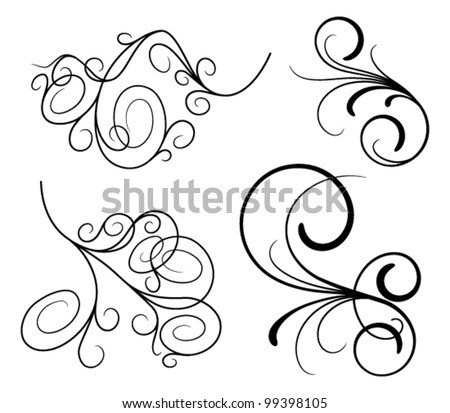 Set of design elements on a white background