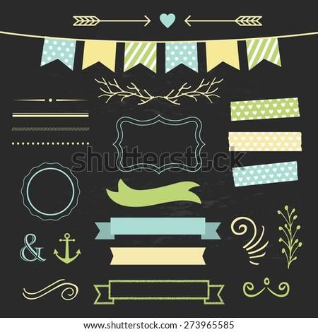 Set of design elements on chalkboard - stock vector