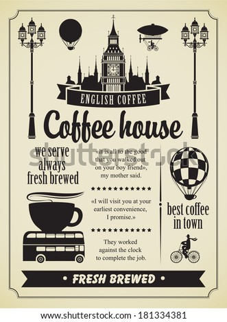 Set of design elements on the subject of coffee and symbols of London - stock vector
