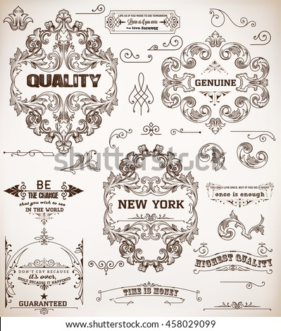set of design elements: page decoration and baroque frames - stock vector