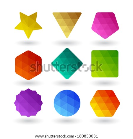 Set of design elements. Polygonal geometric shapes  - stock vector