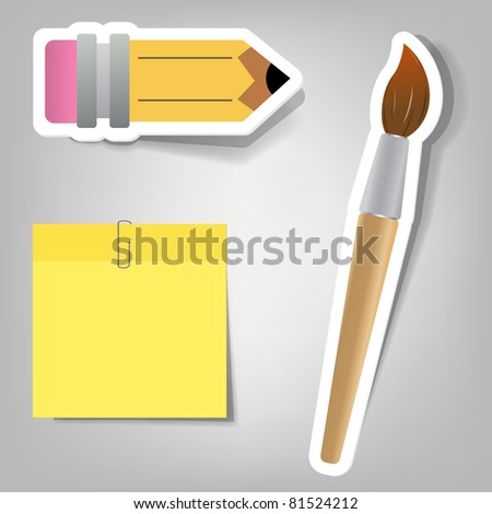 set of design elements to advertise the school time - stock vector