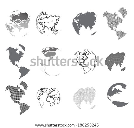 Set of design elements-vector dotted globes. - stock vector